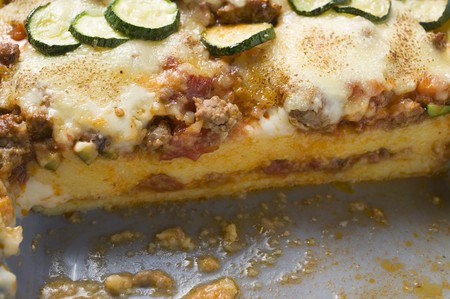 Polenta bake with mince and courgettes