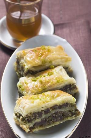 filo pastry: Baklava (Filo pastry with honey & pistachios, Turkey), mint tea
