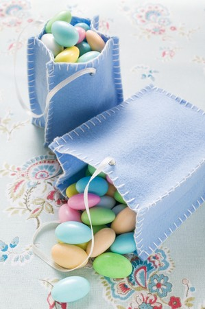 sugared almonds: Sugared almonds in two felt bags
