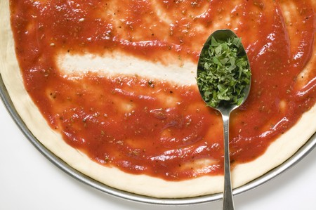 wild marjoram: Pizza base with tomato sauce & spoonful of oregano (close-up) LANG_EVOIMAGES