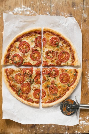quartered: Cheese and tomato pizza with oregano (quartered) LANG_EVOIMAGES