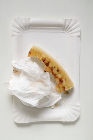 Pizza crust with napkin on paper plate LANG_EVOIMAGES