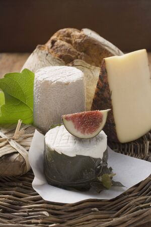several breads: Cheese still life with bread and fig