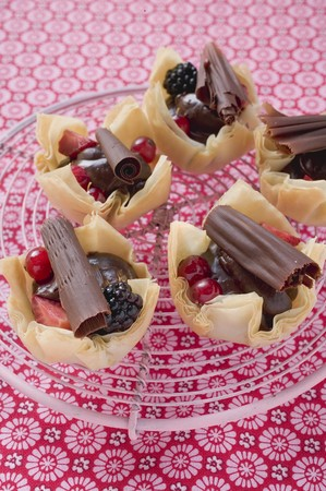yufka: Yufka pastry tarts with berries and chocolate rolls LANG_EVOIMAGES