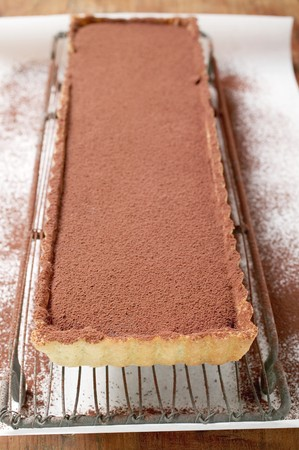 chocolate tart: Rectangular chocolate tart with cocoa powder LANG_EVOIMAGES