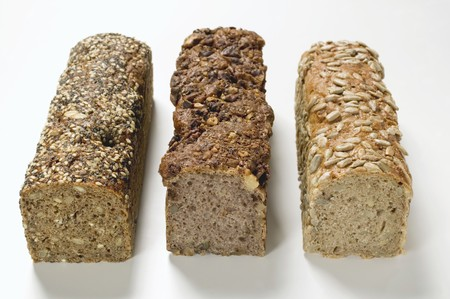 multi grain sandwich: Three wholemeal loaves
