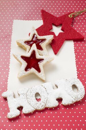 jams: Almond biscuits & the words HOHO in gingerbread, for Xmas