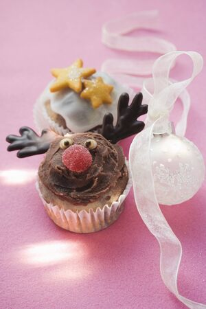 christmassy: Christmassy chocolate muffins and Christmas bauble LANG_EVOIMAGES