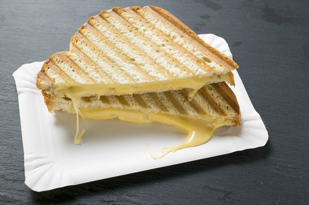 broiling: Toasted cheese sandwiches on paper plate