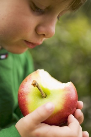 missing bite: Child holding a Gala apple with a bite taken