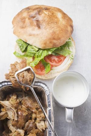 donner: D�ner kebab with ingredients