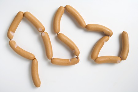 scalded sausage: String of fresh frankfurters