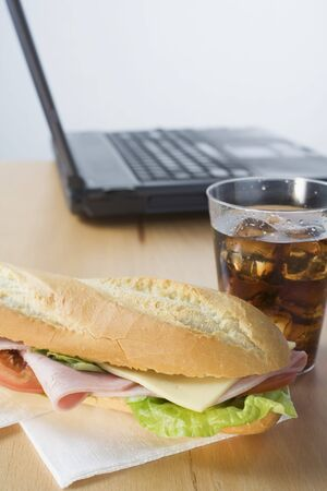 hero sandwich: Sub sandwich and cola in front of laptop