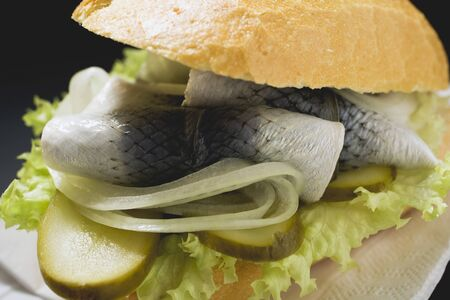 gherkins: Herring, onions and gherkins in bread roll (close-up) LANG_EVOIMAGES