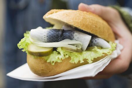 filled roll: Hand holding bread roll filled with herring, onions & gherkins LANG_EVOIMAGES
