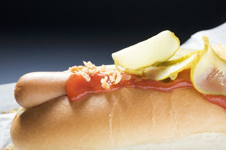 wienie: Hot dog with ketchup and gherkins (detail)