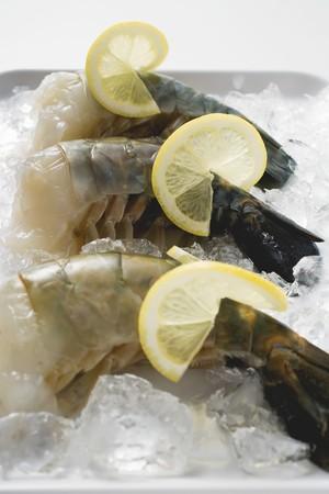 lemon slices: Gamberoni freschi con fette di limone su ghiaccio LANG_EVOIMAGES