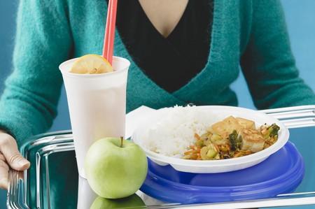 soda pops: Fried tofu with stir-fried vegetables, apple & lemonade on tray LANG_EVOIMAGES