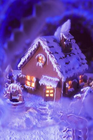 atmospheric: Gingerbread house with atmospheric lighting LANG_EVOIMAGES