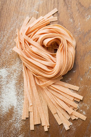 ribbon pasta: Home-made orange ribbon pasta