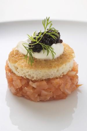 amp tower: Tower of salmon tartare, white toast, sour cream & caviar