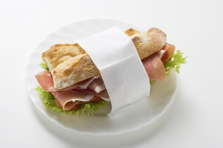 ham sandwich: Panino al prosciutto crudo in tovagliolo di carta sulla piastra LANG_EVOIMAGES