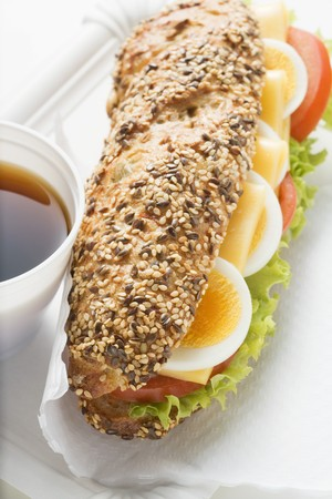 hoagie: Granary roll filled with egg, cheese, tomato and lettuce
