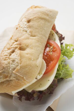 filled roll: Baguette roll filled with mozzarella and tomato