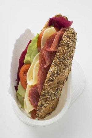 hero sandwich: Granary roll filled with salami and cheese to take away LANG_EVOIMAGES
