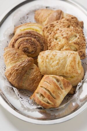 pastes: Sweet pastries on silver tray