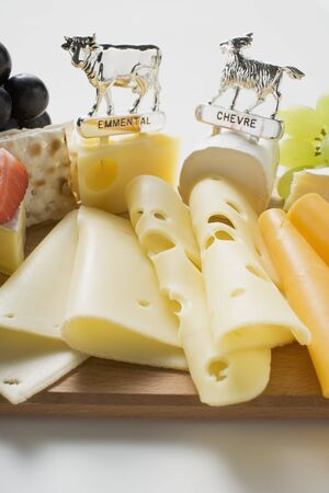 cheeseboard: Cheese platter with grapes and crackers