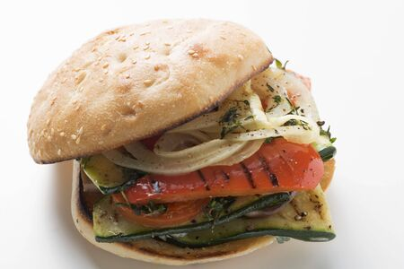 filled roll: Toasted roll filled with grilled vegetables