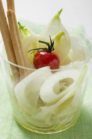 grissini: Pickled onions with cherry tomato and grissini