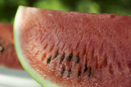 in twos: Two slices of watermelon