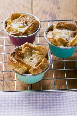 several breads: Individual bread puddings