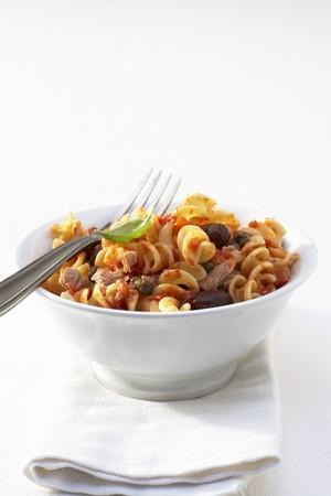 puttanesca: Fusilli puttanesca with tuna