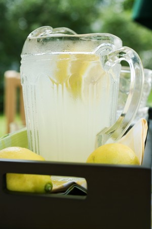 soda pops: Lemonade in a glass jug with slices of lemon
