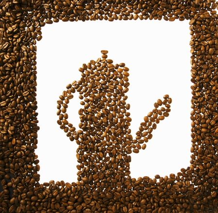 coffeepots: Coffee beans in the shape of a coffee pot