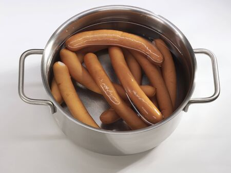 scalded sausage: Frankfurters in a pan