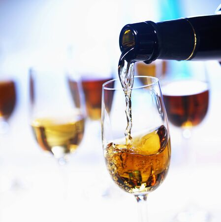 sherry: Pouring sherry into a glass