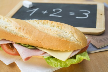 hero sandwich: A ham and cheese sandwich for school