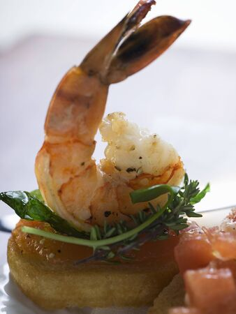 amuse: Bruschetta with shrimp and sweet & sour sauce
