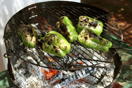 barbecues: Green peppers on a barbecue