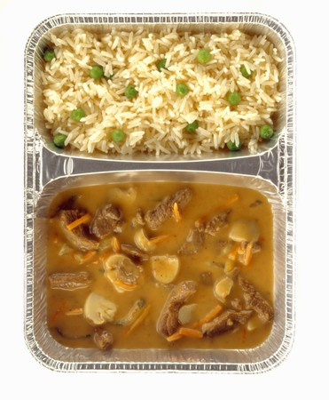strips away: Strips of beef in wine sauce with mushrooms and rice LANG_EVOIMAGES