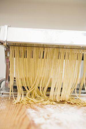 no movement: Home-made tagliatelle in pasta maker