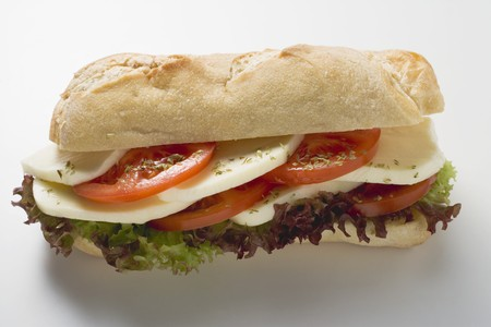 collation: Tomato and mozzarella sandwich