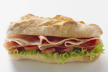 hero sandwich: Sub sandwich with raw ham LANG_EVOIMAGES