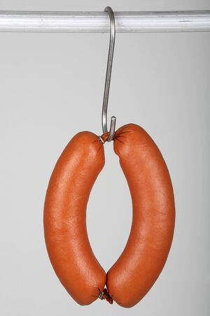 scalded sausage: A ring bologna on a hook
