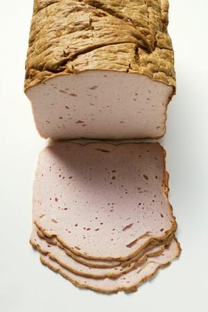albondigas: Leberkse (un tipo de pastel de carne), una pieza y rebanadas