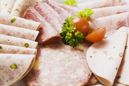 scalded sausage: A selection of cold cuts